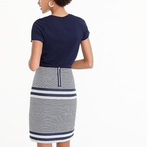 J Crew A-line skirt in striped navy tweed